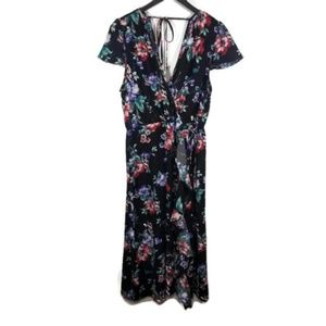 Xhiliration Floral Deep V-Neck Wrap Midi Dress XL